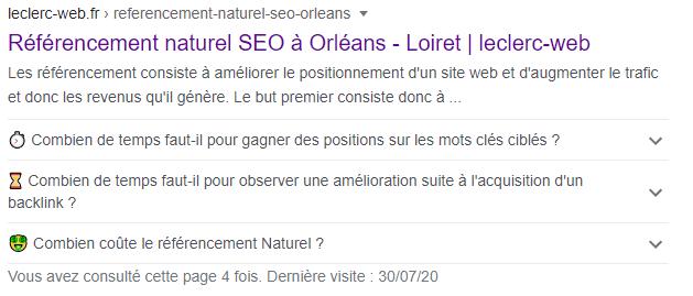 schema.org FAQ supprimé des résultats de recherche Google
