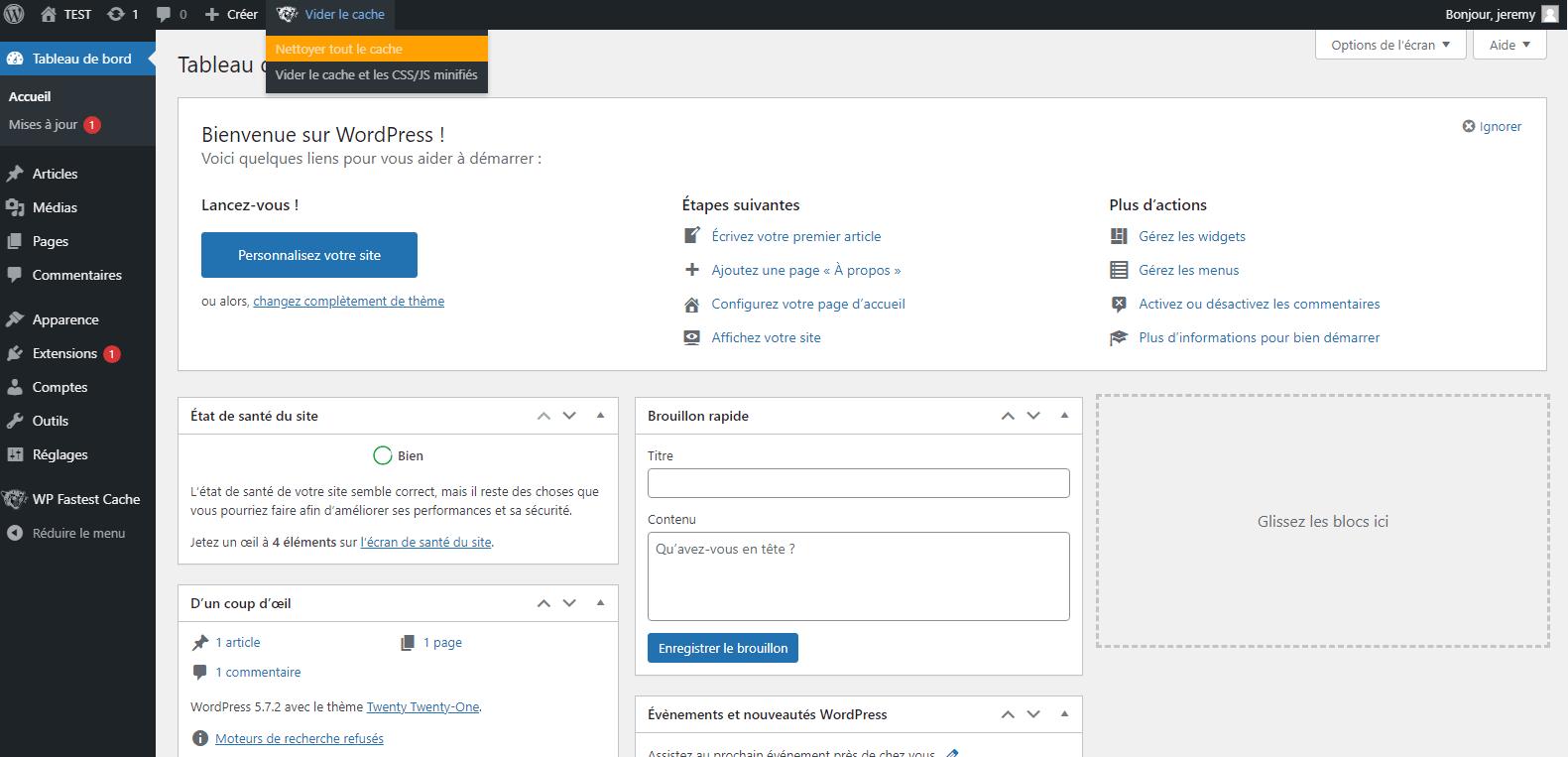 vider le cache wordpress avec wp fastest cache