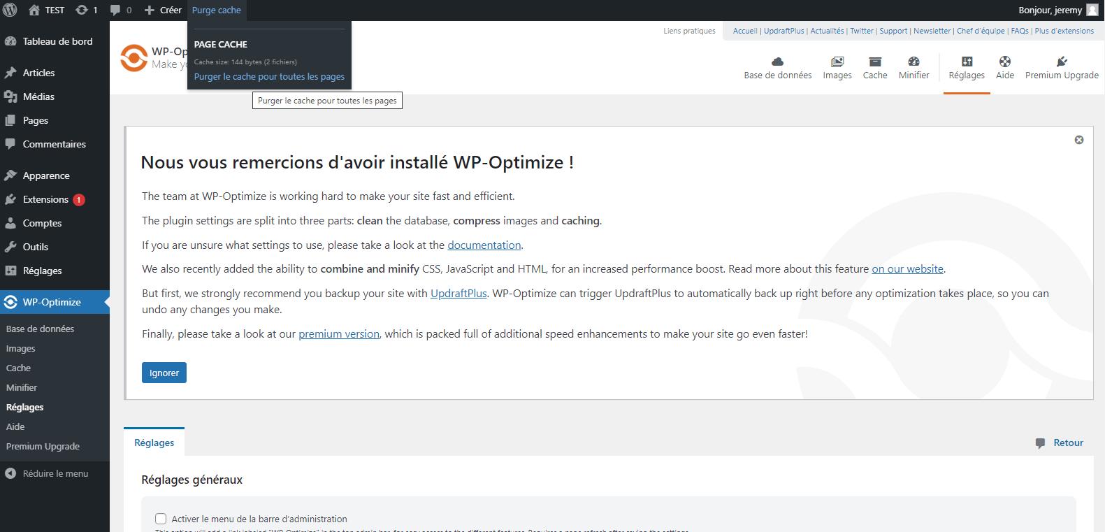 vider le cache wordpress avec wo optimize cache